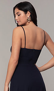 Image of faux-wrap long v-neck prom dress by Simply. Style: MCR-SD-2804 Detail Image 2