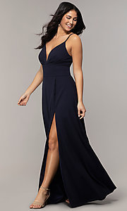 Image of faux-wrap long v-neck prom dress by Simply. Style: MCR-SD-2804 Detail Image 3