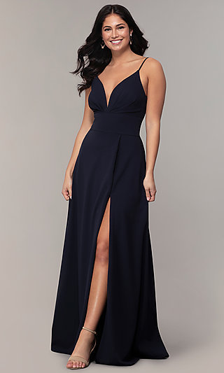 Faux Wrap Long V-Neck Prom Dress by Simply