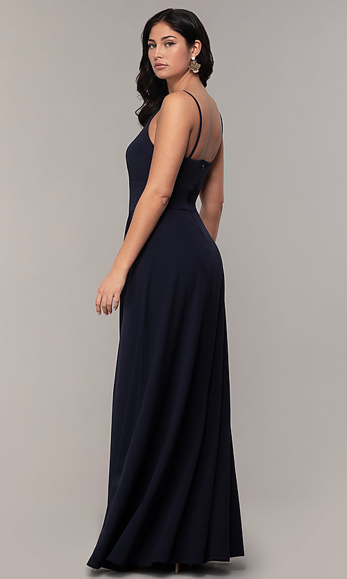 Image of faux-wrap long v-neck prom dress by Simply. Style: MCR-SD-2804 Back Image