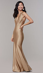 Image of long mocha v-neck empire-waist Simply prom dress. Style: MCR-SD-2827 Front Image