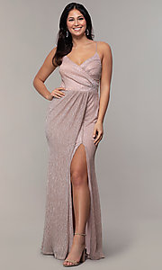 Image of long v-neck prom dress by Simply. Style: MCR-SD-2645 Detail Image 8
