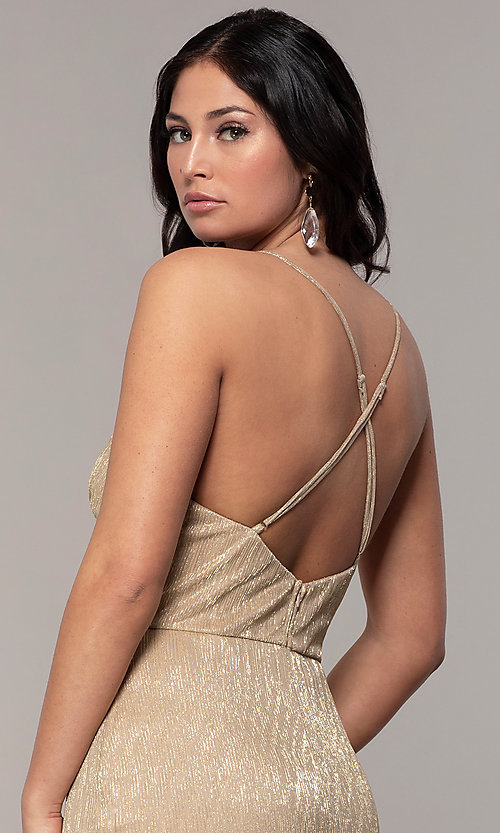 Image of long v-neck prom dress by Simply. Style: MCR-SD-2645 Detail Image 2