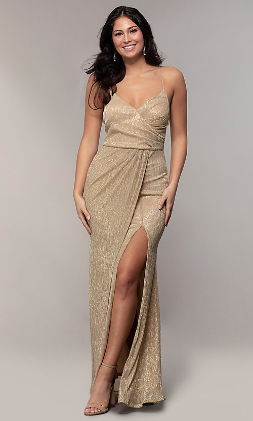 Image of long v-neck prom dress by Simply. Style: MCR-SD-2645 Detail Image 3