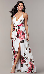 Image of floral-print long v-neck prom dress by Simply. Style: MCR-SD-2801 Front Image