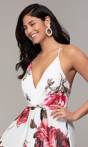 Image of floral-print long v-neck prom dress by Simply. Style: MCR-SD-2801 Detail Image 1