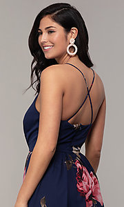 Image of floral-print long v-neck prom dress by Simply. Style: MCR-SD-2801 Detail Image 2