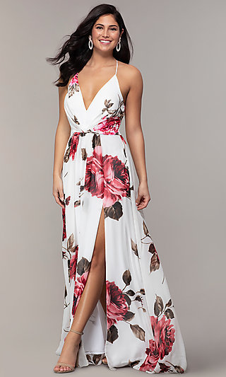 Floral-Print Long V-Neck Prom Dress by Simply