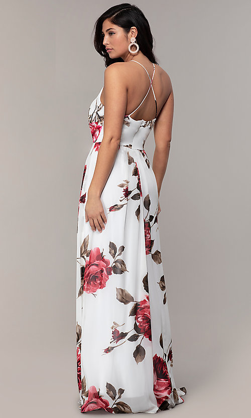 Image of floral-print long v-neck prom dress by Simply. Style: MCR-SD-2801 Back Image