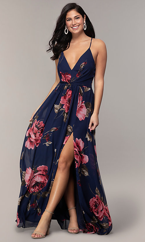 95272aa0d58 Image of floral-print long v-neck prom dress by Simply. Style
