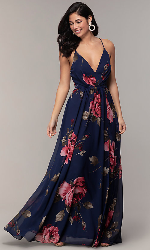 Image of floral-print long v-neck prom dress by Simply. Style: MCR-SD-2801 Detail Image 3