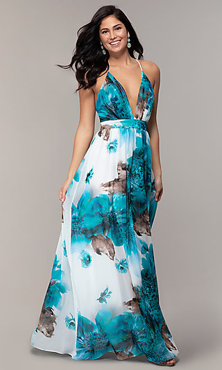 Open-Back Teal Blue Print Prom Dress by Simply