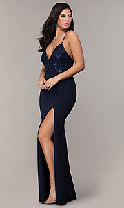 Image of sequin-bodice long navy formal prom dress by Simply. Style: MCR-SD-2806 Detail Image 3