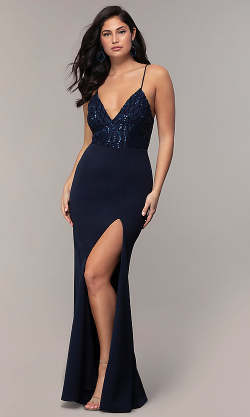 Image of sequin-bodice long navy formal prom dress by Simply. Style: MCR-SD-2806 Front Image