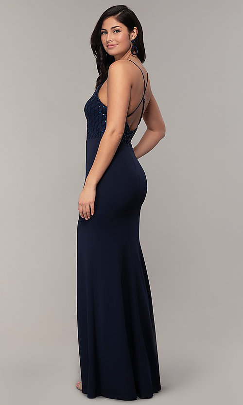 Image of sequin-bodice long navy formal prom dress by Simply. Style: MCR-SD-2806 Back Image