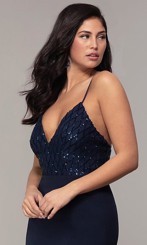 Image of sequin-bodice long navy formal prom dress by Simply. Style: MCR-SD-2806 Detail Image 1