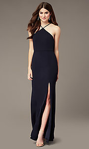 Image of long navy triangle-neck prom dress by Simply. Style: MCR-SD-2704 Front Image