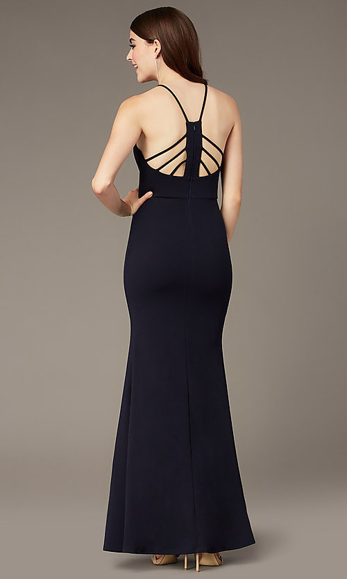 Image of long navy triangle-neck prom dress by Simply. Style: MCR-SD-2704 Back Image