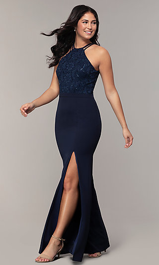 Simply Long Prom Dress with Sequined Lace
