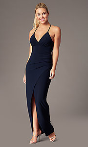 Image of long lace-back v-neck prom dress by Simply. Style: MCR-SD-2703 Detail Image 3