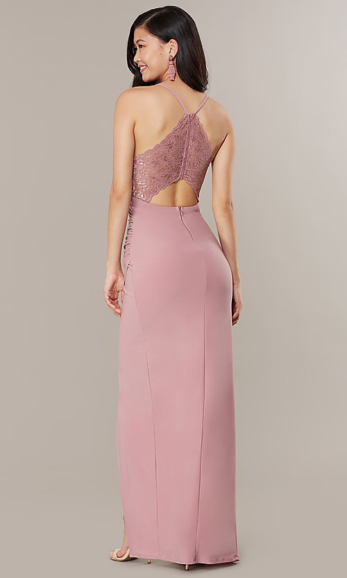 Image of long lace-back v-neck prom dress by Simply. Style: MCR-SD-2703 Front Image