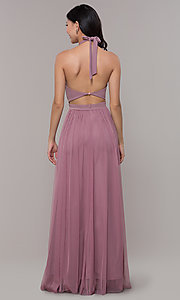 Image of long high-neck halter prom dress by Simply. Style: MCR-SD-3074 Back Image