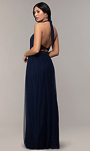 Image of long high-neck halter prom dress by Simply. Style: MCR-SD-3074 Detail Image 5