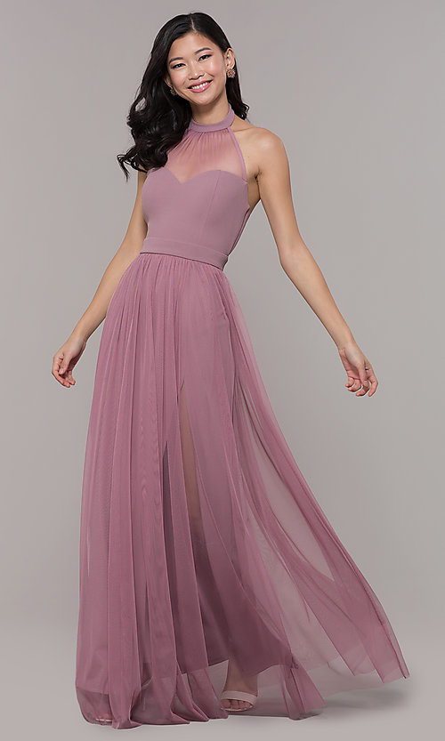 Image of long high-neck halter prom dress by Simply. Style: MCR-SD-3074 Front Image
