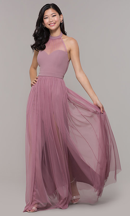 Image of long high-neck halter prom dress by Simply. Style: MCR-SD-3074 Detail Image 3