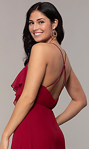 Image of long open-back v-neck wrap prom dress by Simply. Style: MCR-SD-3075 Detail Image 2