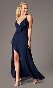 Image of long open-back v-neck wrap prom dress by Simply. Style: MCR-SD-3075 Detail Image 4
