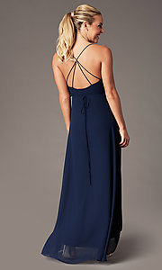 Image of long open-back v-neck wrap prom dress by Simply. Style: MCR-SD-3075 Detail Image 5