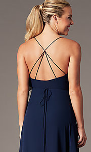 Image of long open-back v-neck wrap prom dress by Simply. Style: MCR-SD-3075 Detail Image 7