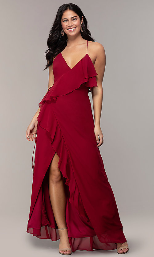 Image of long open-back v-neck wrap prom dress by Simply. Style: MCR-SD-3075 Front Image