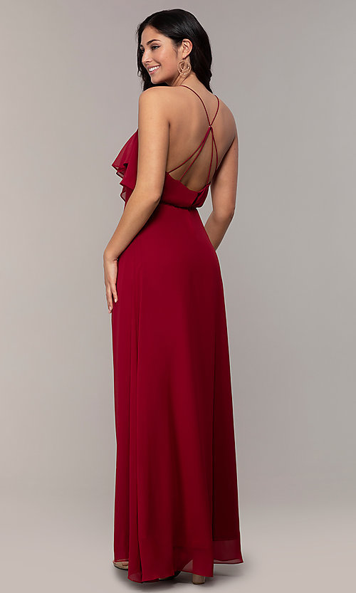 Image of long open-back v-neck wrap prom dress by Simply. Style: MCR-SD-3075 Back Image
