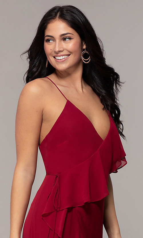 Image of long open-back v-neck wrap prom dress by Simply. Style: MCR-SD-3075 Detail Image 1