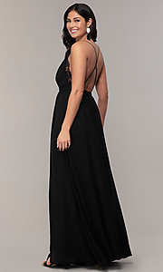 Image of black open-back long v-neck prom dress by Simply. Style: MCR-SD-2706 Back Image