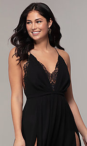 Image of black open-back long v-neck prom dress by Simply. Style: MCR-SD-2706 Detail Image 1