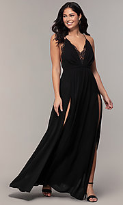 Image of black open-back long v-neck prom dress by Simply. Style: MCR-SD-2706 Detail Image 3