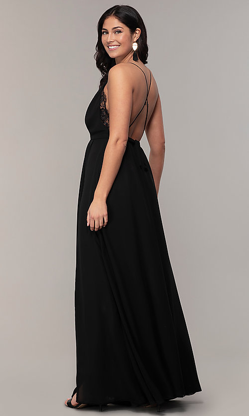 171955338fe89 Image of black open-back long v-neck prom dress by Simply. Style
