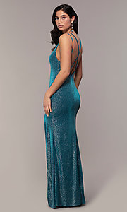 Image of long v-neck glitter jersey prom dress by PromGirl. Style: MCR-PL-2800 Detail Image 5