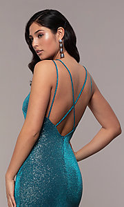 Image of long v-neck glitter jersey prom dress by PromGirl. Style: MCR-PL-2800 Detail Image 7