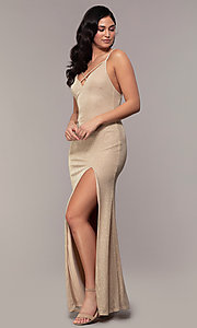 Image of long v-neck glitter jersey prom dress by PromGirl. Style: MCR-PL-2800 Front Image