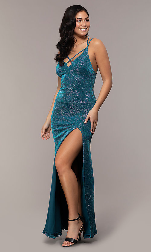 Image of long v-neck glitter jersey prom dress by PromGirl. Style: MCR-PL-2800 Detail Image 4