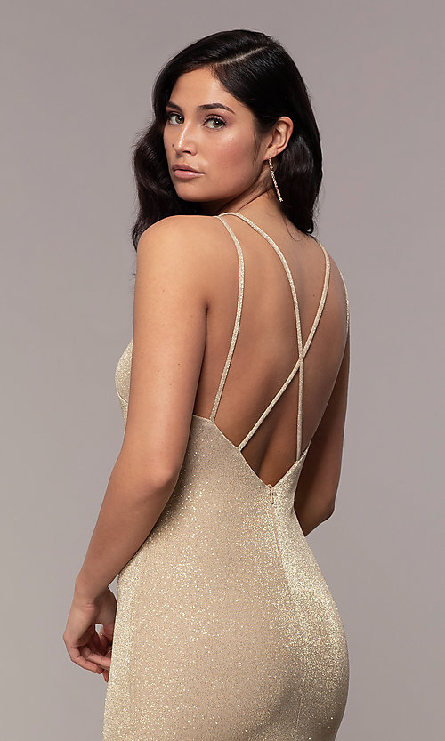 Image of long v-neck glitter jersey prom dress by PromGirl. Style: MCR-PL-2800 Detail Image 2