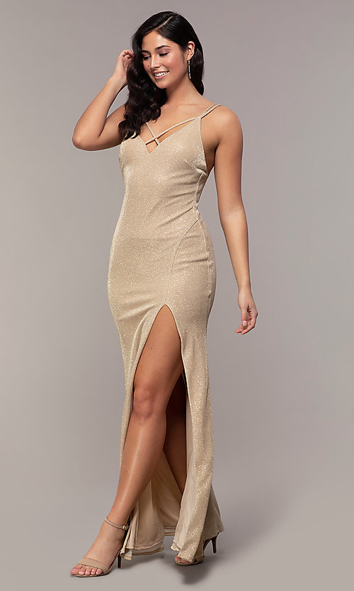 Image of long v-neck glitter jersey prom dress by PromGirl. Style: MCR-PL-2800 Detail Image 3
