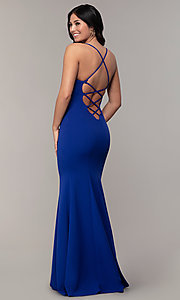 Image of long sweetheart mermaid prom dress by PromGirl.  Style: MCR-PL-2810 Back Image