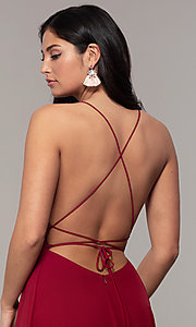 Image of long v-neck open-back prom dress by PromGirl. Style: MCR-PL-3065 Detail Image 7