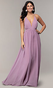 Image of long v-neck open-back prom dress by PromGirl. Style: MCR-PL-3065 Detail Image 4