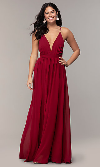Long V-Neck Open-Back Prom Dress by PromGirl